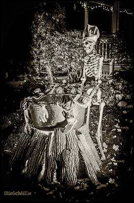 Witch Photograph - Halloween Skeleton Cooking by LeeAnn McLaneGoetz McLaneGoetzStudioLLCcom