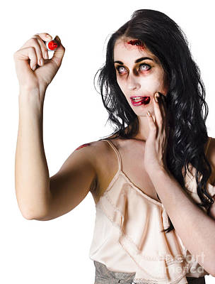 Halloween Zombie Woman Writing Message Print by Jorgo Photography - Wall Art Gallery