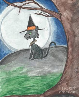 Witch Halloween Cat Wicca Drawing - Hallow's Guard  by Priscilla Hale