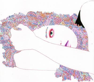 Visionary Art Drawing - Hallucino-jenny by Davivid Rose