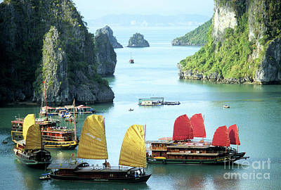 Two Islands Photograph - Halong Bay Sails 01 by Rick Piper Photography