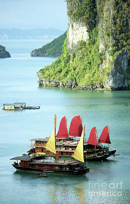 With Red. Photograph - Halong Bay Sails 02 by Rick Piper Photography