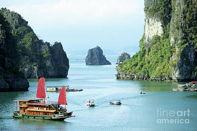 With Red. Photograph - Halong Bay Sails 03 by Rick Piper Photography