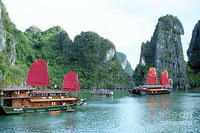 With Red. Photograph - Halong Bay Sails 04 by Rick Piper Photography