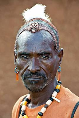 African People Photograph - Hamar Man With Headdress Showing Status by Tony Camacho