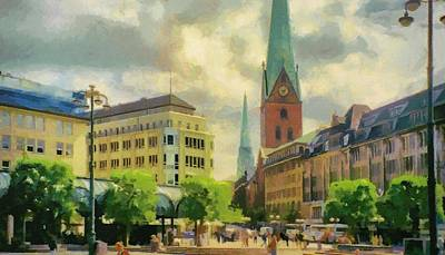 Red Painting - Hamburg Street Scene by Jeff Kolker