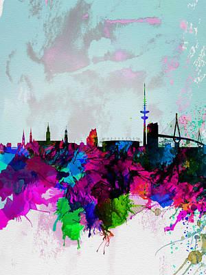 Panoramic Digital Art - Hamburg Watercolor Skyline by Naxart Studio