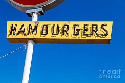 Burgers Photograph - Hamburgers Old Neon Sign by Edward Fielding