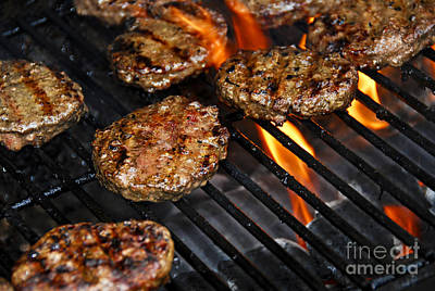 Burgers Photograph - Hamburgers On Barbeque by Elena Elisseeva