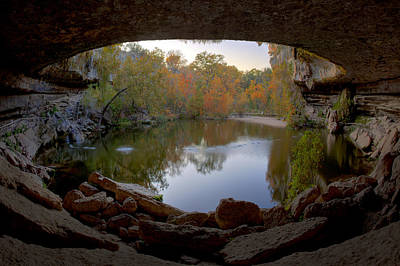 Hamilton Pool Autumn Colors - Texas Hill Country Print by Rob Greebon