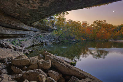 Hamilton Pool Autumn Moonset In The Texas Hill Country Print by Rob Greebon