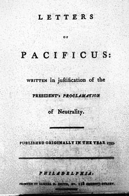 Proclamation Painting - Hamilton Title Page, 1793 by Granger