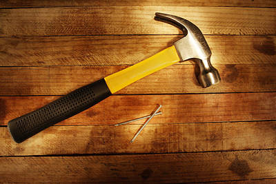 Hardware Photograph - Hammer And Nails by Les Cunliffe