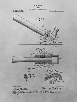 Hammer Drawing - Hammer Patent by Dan Sproul