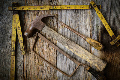 Hammer Saw Screwdriver And Measuring Tape On Rustic Wood Backg Print by Brandon Bourdages