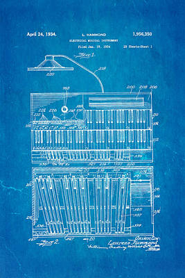 Hammond Organ Patent Art 1934 Blueprint Print by Ian Monk