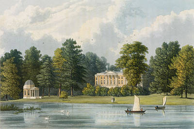Swan Drawing - Hampton House by William Westall