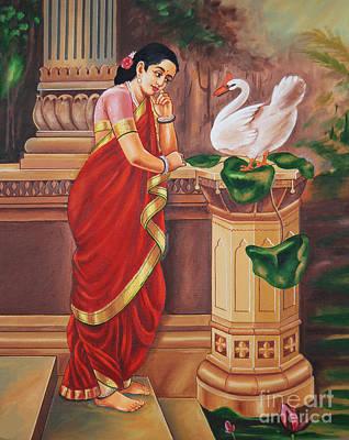 Ravi Painting - Hamsa Damayanthi by Ragunath Venkatraman