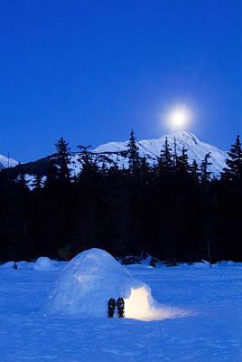 Igloo Photograph - Hand Built Igloo In Moonlight Lit Up by Randy Brandon