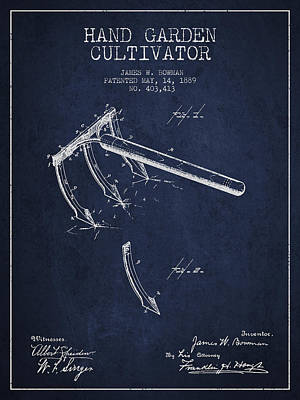 Hand Garden Cultivator Patent From 1889 - Navy Blue Print by Aged Pixel