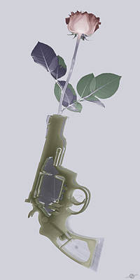 Flowers And Roses Mixed Media - Hand Gun And Flower X-ray Series 1 by Tony Rubino