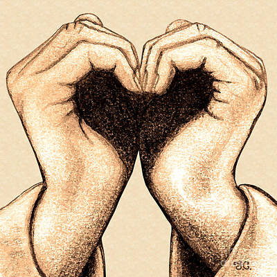 Love Drawing - Hand Heart by Jaison Cianelli