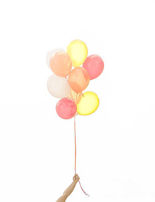 Hand Holding Balloons Print by Diane Diederich