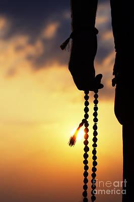 Hand Holding Rudraksha Beads Print by Tim Gainey