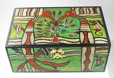Esprit Mystique Mixed Media - Hand Painted Maori Design Wooden Box by Witches Hammer - Virginia Vivier
