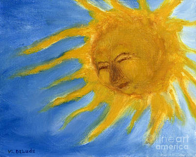 Hand Painted Sun Face Old Sol Print by Lenora  De Lude