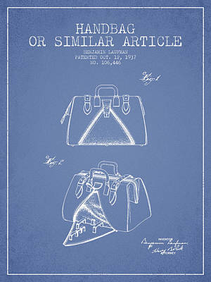 Purses Drawing - Handbag Or Similar Article Patent From 1937 - Light Blue by Aged Pixel