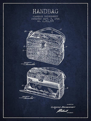 Purses Drawing - Handbag Patent From 1936 - Navy Blue by Aged Pixel
