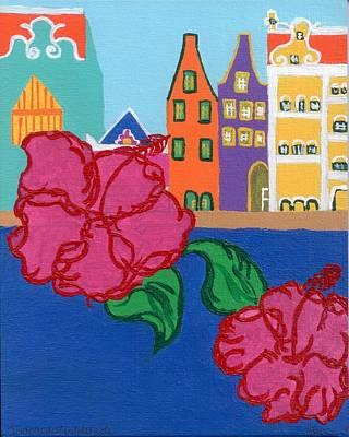 Fauna Painting - Handelskade With Red Flowers by Melissa Vijay Bharwani