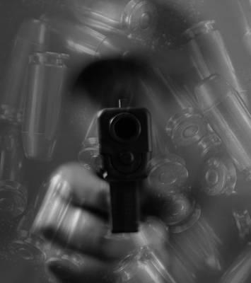 Handgun And Ammunition Print by Dan Sproul