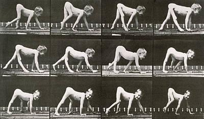 Eadwerd Photograph - Handicapped Boy Crawling by Eadweard Muybridge