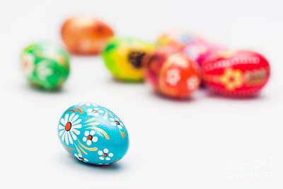 Paint Photograph - Handmade Easter Eggs On White by Michal Bednarek