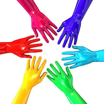 Hands Colorful Circle Reaching Inwards Print by Allan Swart
