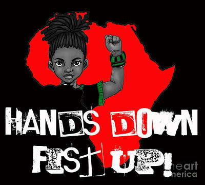 Hands Down Fist Up Print by Respect the Queen