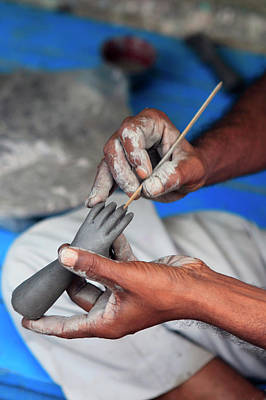 Hindu Goddess Photograph - Hands Working On A Hand In The Potter's by Kymri Wilt