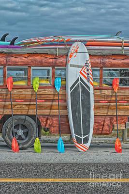 Hang Ten - Vintage Woodie Surf Bus - Florida Print by Ian Monk