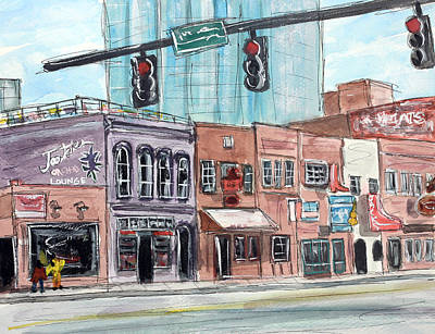 Nashville Painting - Hangin' 'round Twang Town by Tim Ross