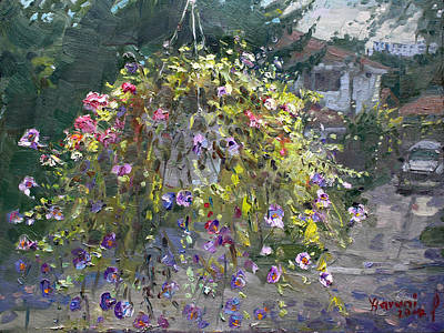 Balconies Painting - Hanging Flowers From Balcony by Ylli Haruni
