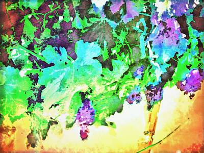 Grape Vines Digital Art - Hanging Grapes by Cindy Edwards