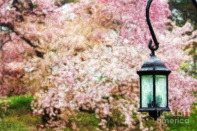Hanging Lamp And Spring Flowers Print by Nishanth Gopinathan