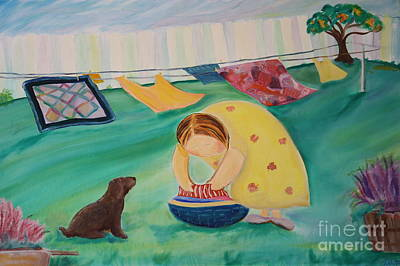 Painting - Hanging Laundry In The Summer Wind by Teresa Hutto