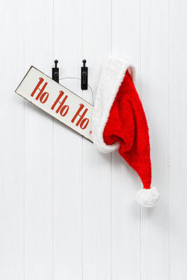 Hanging Santa Hat And Sign Print by Amanda And Christopher Elwell