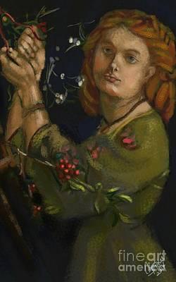 Hanging The Mistletoe Print by Carrie Joy Byrnes