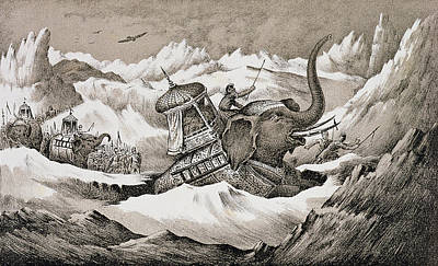 Hannibal And His War Elephants Crossing Print by English School