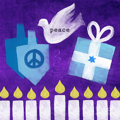 Miracle Mixed Media - Hanukkah Peace by Linda Woods