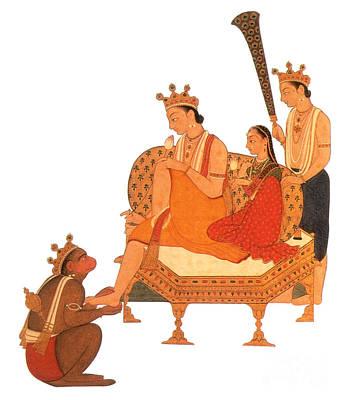 Hanuman Worshipping Rama Print by Photo Researchers